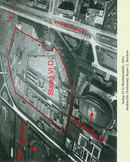 Stalag VI D et Westfalenhalle en 1944 (Stadtarchiv Dortmund - Repro I. Buckow)