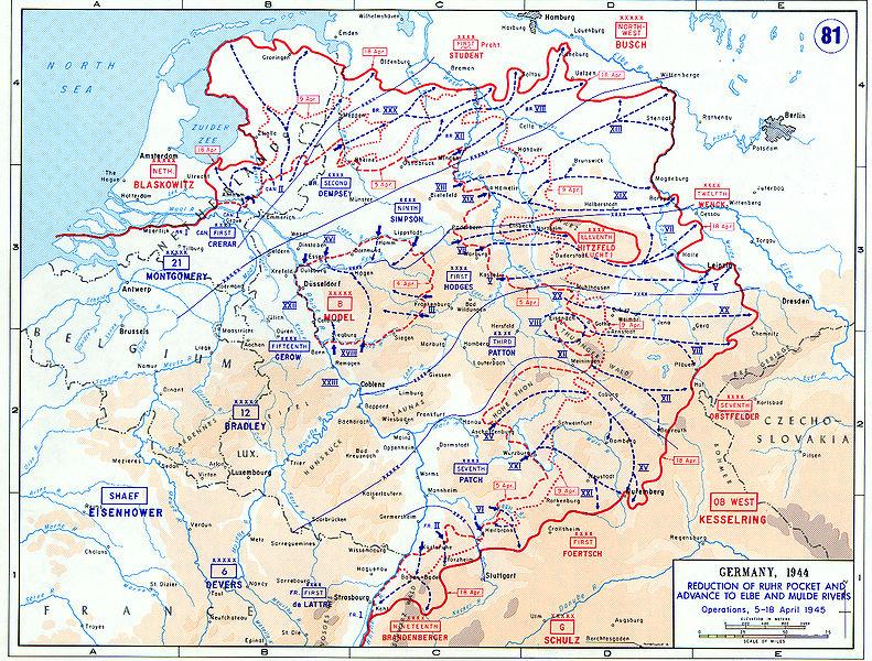 Avance des forces alliées en Allemagne du 5 au 18 avril 1945