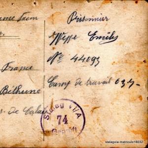 Carte postale de captivité - verso