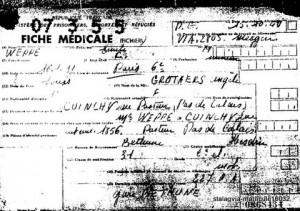 Fiche médicale de rapatriement n° 0868434