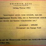 Note allemande (extrait d'un compte rendu du 8 mars 1941) - les prisonniers de guerre sont des esclaves ...