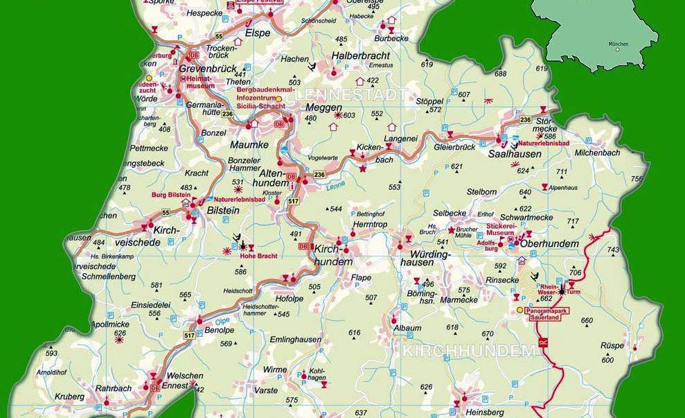 Carte de Halberbracht-Meggen-Maumke-Altenhundem-Kirchhundem